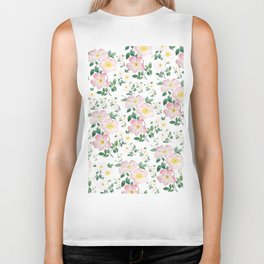 pink and white rose pattern Biker Tank