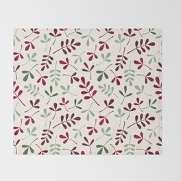 Assorted Leaf Silhouettes Ptn Reds Greens Cream Throw Blanket