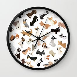 Dog Party Pile Wall Clock