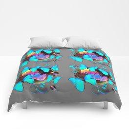 MODERN ART NEON BLUE BUTTERFLIES PATTERNS ART Comforters