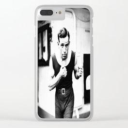 Vintage Boxer Photo Black & White Clear iPhone Case