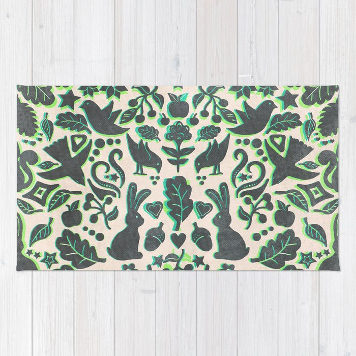 Lime Green Grey Area Rug: Folk Art Pattern In Grey, Lime Green & Mint