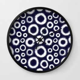 Boho, Tie Dye Pattern, Indigo Navy Blue Wall Clock