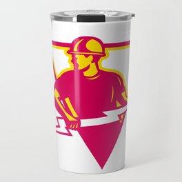 Power Lineman With Thunderbolt Triangle Travel Mug