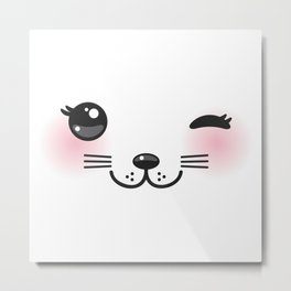 Kawaii funny cat with pink cheeks and winking eyes on white background Metal Print