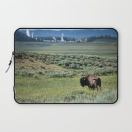 A Bull Bison Heads Towards Thermal Activity in the Hayden Valley of Yellowstone National Park Laptop Sleeve