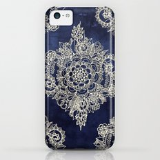 Cream Floral Moroccan Pattern on Deep Indigo Ink Slim Case iPhone 5c