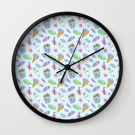 Cute candy and ice-cream pattern Wall Clock