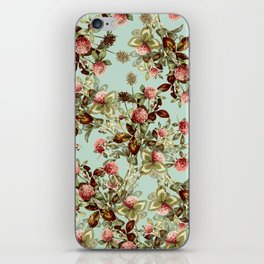 Vintage shabby green pink coral floral pattern iPhone Skin