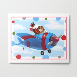 Red Airplane with boy Pilot Metal Print