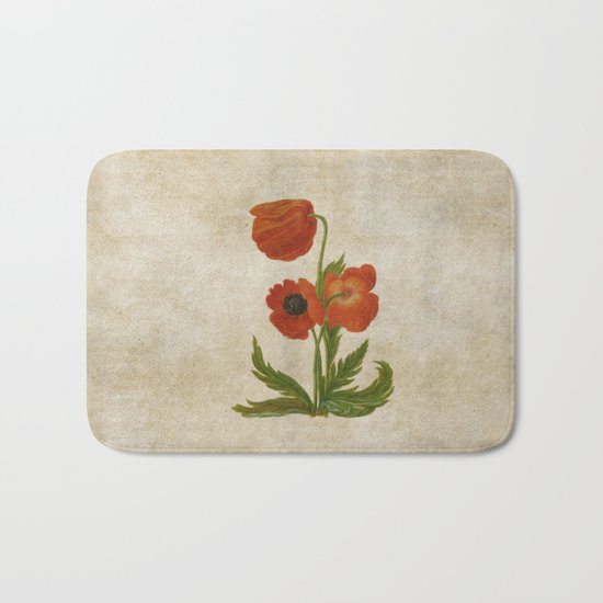 Vintage painting- Bunch of poppies Poppy Flower floral Bath Mat