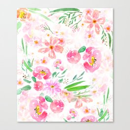 pink flowers and green leaf pattern  Canvas Print