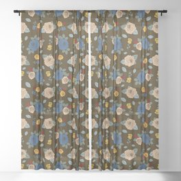 Colorful Roses pattern Sheer Curtain