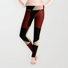 Red Black Block Pattern Abstract Leggings