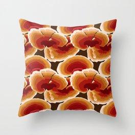 Retro Reishi Mushrooms Throw Pillow