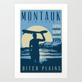 Montauk Ditch Plains Retro Vintage Surf Art Print