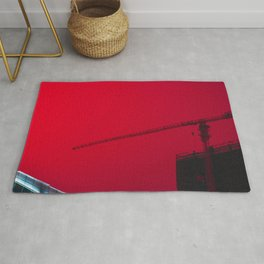 building construction crane architecture city sky red Rug