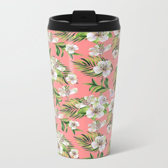 White flowers on a pink background Metal Travel Mug