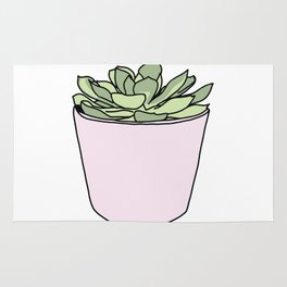 Green suculent in pink flowerpot Rug