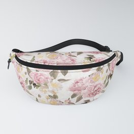 Vintage & Shabby Chic - Antique Sepia Summer Day Roses And Peonies Botanical Garden Fanny Pack