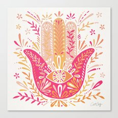 Hamsa Hand – Pink & Peach Palette Canvas Print