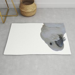Ruffled Feathers Of A Blue Eyed Cockatoo Isolated Rug