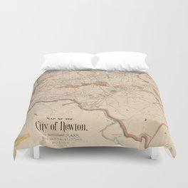 Vintage Map of Newton MA (1894) Duvet Cover