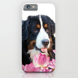 Bernese Mountain Dog between Lotus Flowers #dog #society6 iPhone Case