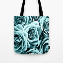 Blue Turquoise Roses Tote Bag