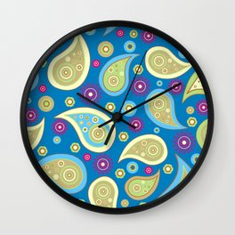 Oriental Persian Paisley, Flowers - Blue Green Wall Clock
