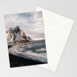 Stokksnes Icelandic Mountain Beach Sunset - Landscape Photography Stationery Cards
