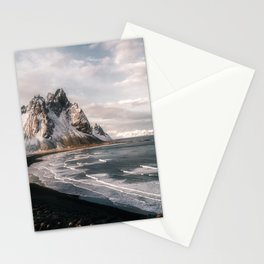 Stokksnes Icelandic Mountain Beach Sunset - Landscape Photography Stationery Cards