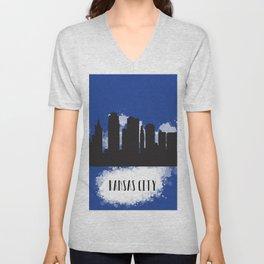 Kansas city skyline silhouette Unisex V-Neck
