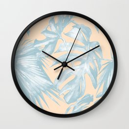 Tropical Plants Blue on Peach Coral Wall Clock