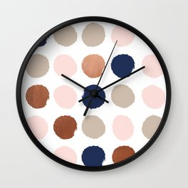 Polka dots abstract minimalist painting bronze copper gold metallic dot Wall Clock