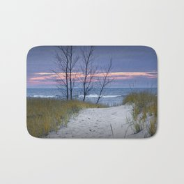 Sunset Photograph of Trees and Dune with Beach Grass at Holland Michigan Bath Mat