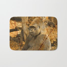 Magnificent Silverback Lowland Gorilla Grunge Photo with Vintage Effects Bath Mat