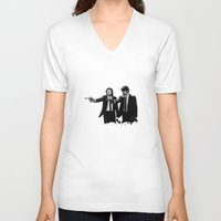 pulp fiction V-neck T-shirts featuring Pulp Fiction  by OnaVonVerdoux