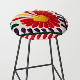 Red Mexican Flower Bar Stool