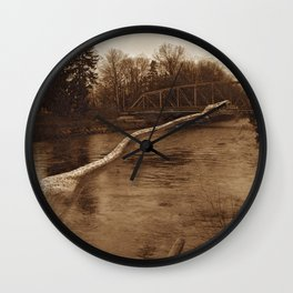 Elasmosaurus Dinosaur Attacking Bridge Wall Clock