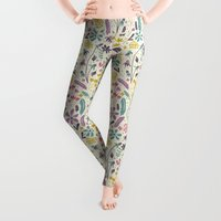 retro Leggings featuring Retro Blooms (Candy) by Anna Deegan