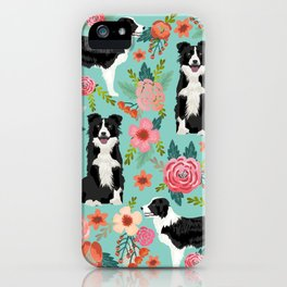 Border Collie cute florals dog gifts for collie black and white puppy dog herding dog iPhone Case