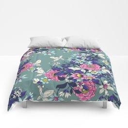 Thea's Garden - in teal tones Comforters