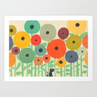 Cat in flower garden Art Print