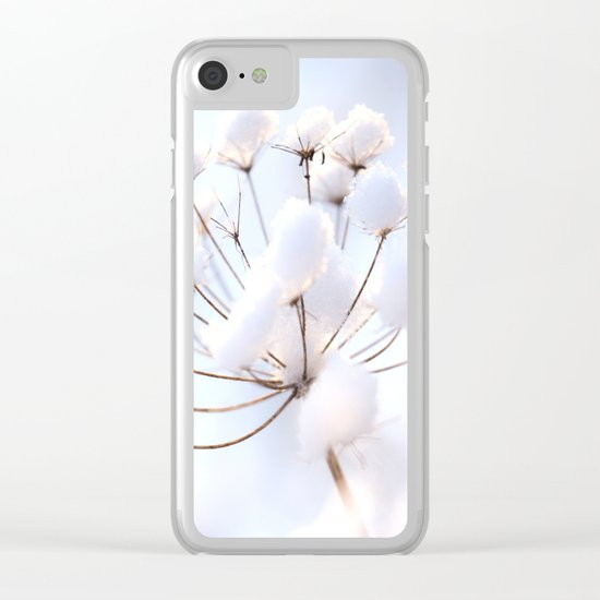 Snow covered dryflower Clear iPhone Case