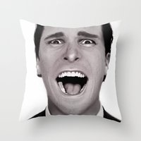 american psycho Throw Pillows featuring American Psycho by Alexia Rose