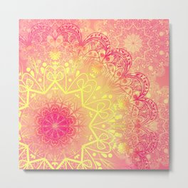 Mandala in Rose and Lemon Metal Print