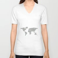 map of the world V-neck T-shirts featuring World map by David Zydd