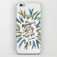 the mountains are calling iPhone & iPod Skins featuring Mountains Calling by Cat Coquillette