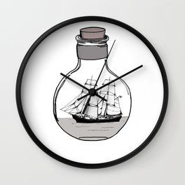 The ship in the glass bulb . Art . Wall Clock